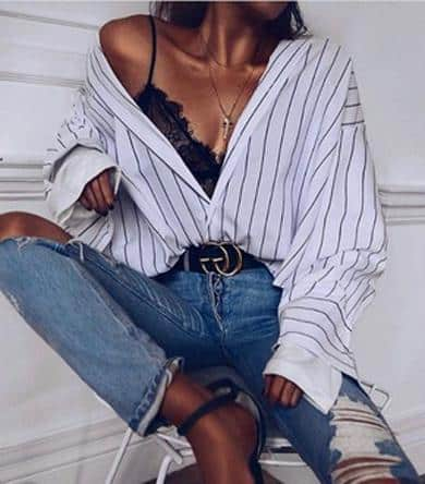 How to style a button down shirt. Wear it slightly unbuttoned with something sexy underneath peeking out like a lace bralette or bodysuit.