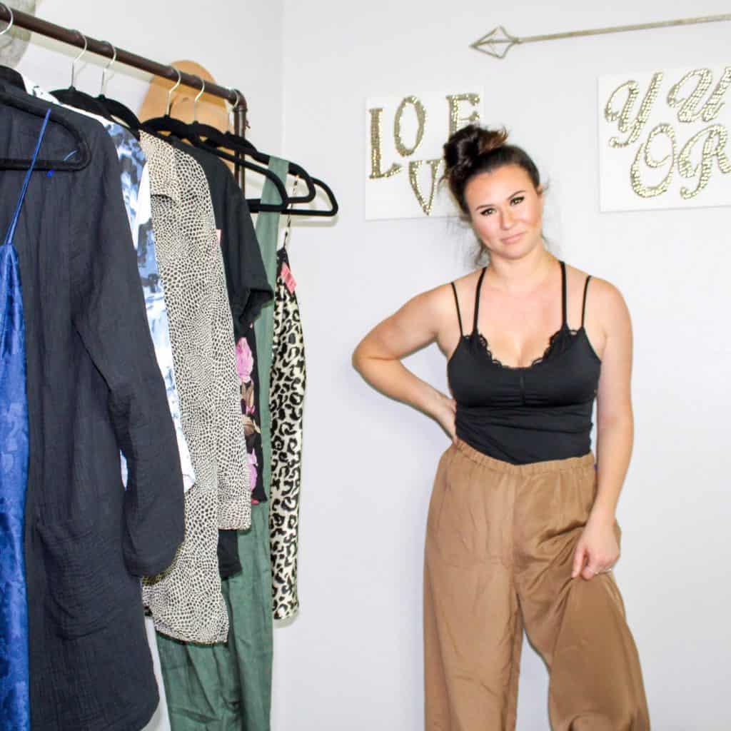 Fall Thrift Haul | These brown pants are 100% silk and are the perfect satin pants to add texture to your fall outfit. It can be paired with sweaters, blazers, tops, bascially anything will look good with these pants.