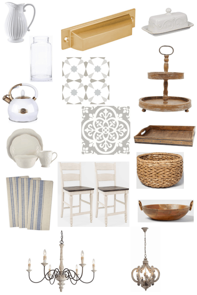 These accessories will help you get this traditional, French Country Fixer Upper kitchen. Wood and white porcelain decor pieces go great with neutral colors and a beautiful faux tile back splash.. See what else you can do to get this look in your kitchen.