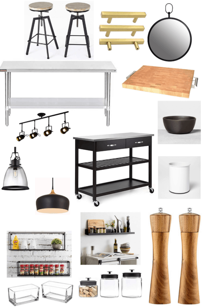 These accessories will help you get this modern industrial Fixer Upper kitchen. Metal and wood decor pieces go great with a black and white color scheme. See what else you can do to get this look in your kitchen.