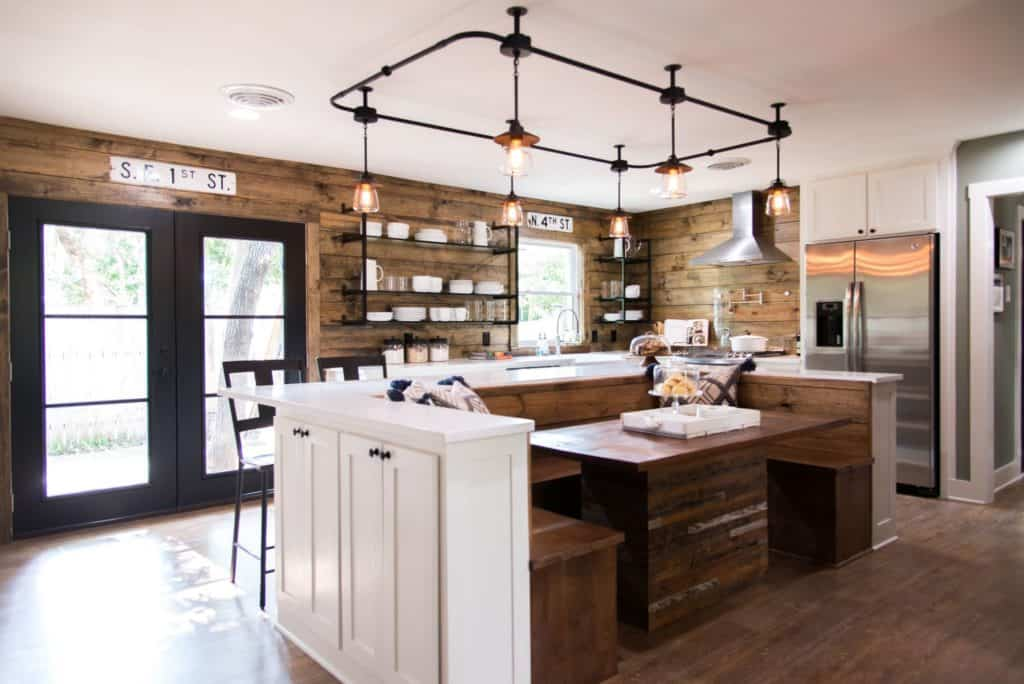 Fixer Upper kitchen. This is a mix of industrial and rustic. Use warm toned woods mixed with metals to get a similar feel