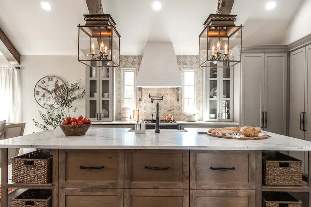 This Fixer Upper kitchen is a mix of old Italian, tradtional, and a touch of farmhouse and Moroccan.