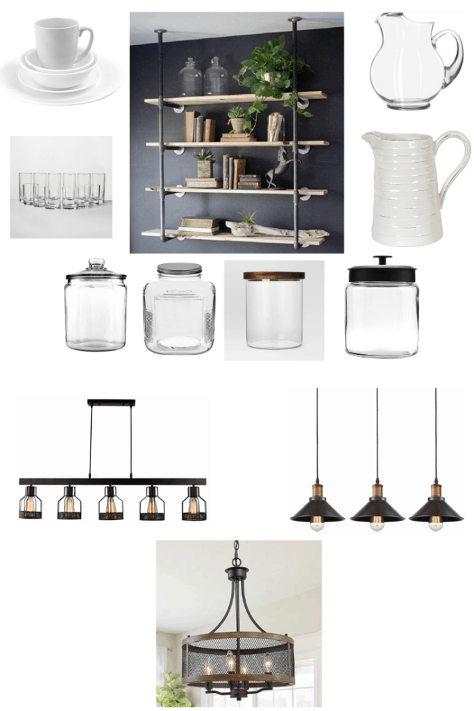 These accessories will help you get this rustic industrial Fixer Upper kitchen. Metal and wood decor pieces go great with a black and white color scheme. See what else you can do to get this look in your kitchen.