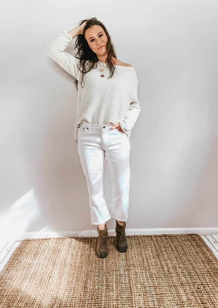 These thrifted fall basics are perfect for all your casual fall outfits. These white straight leg jeans with a cropped raw hem paired with this white textured sweatshirt and brown booties are the perfect outfit for fall.