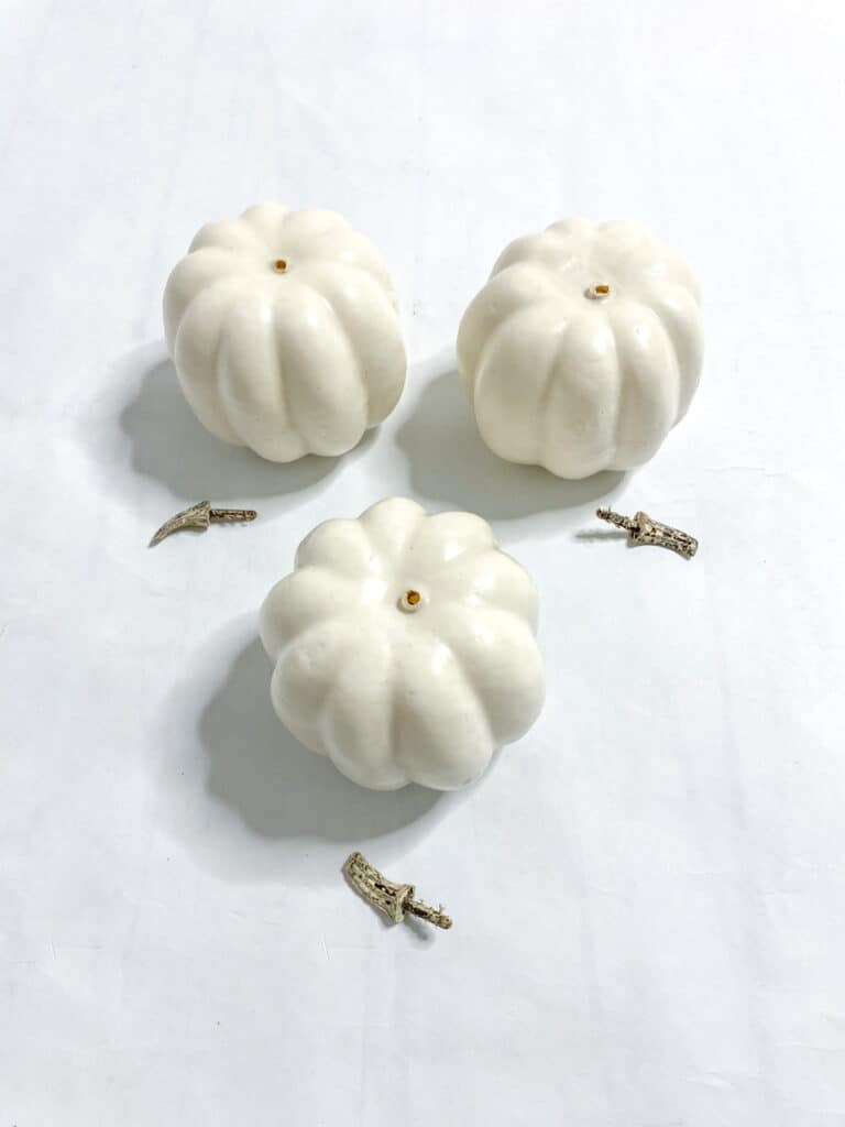These white foam pumpkin's stems very very simple to remove, they simply popped out.
