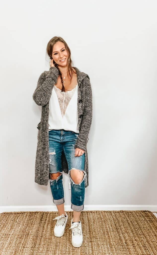 These thrifted fall basics are perfect for all your casual fall outfits. This gray and white marled duster sweater can be worn with a white silk and lace camisole, ripped jeans, and some white sneakers.