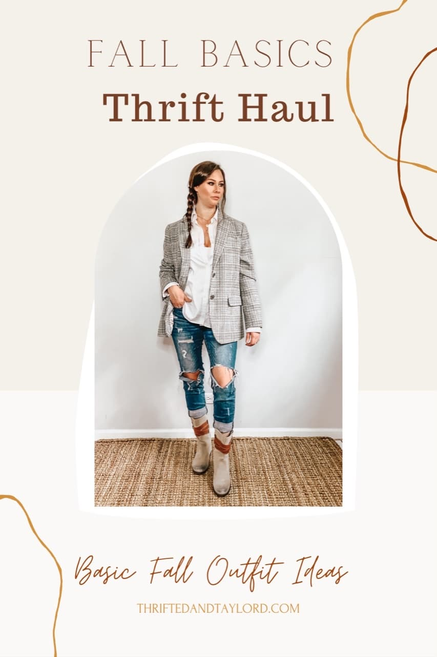 These thrifted fall basics make the cutest casual fall outfits. Photo shows a woman wearing a plaid blazer, white button down shirt, distressed jeans, and gray boots.