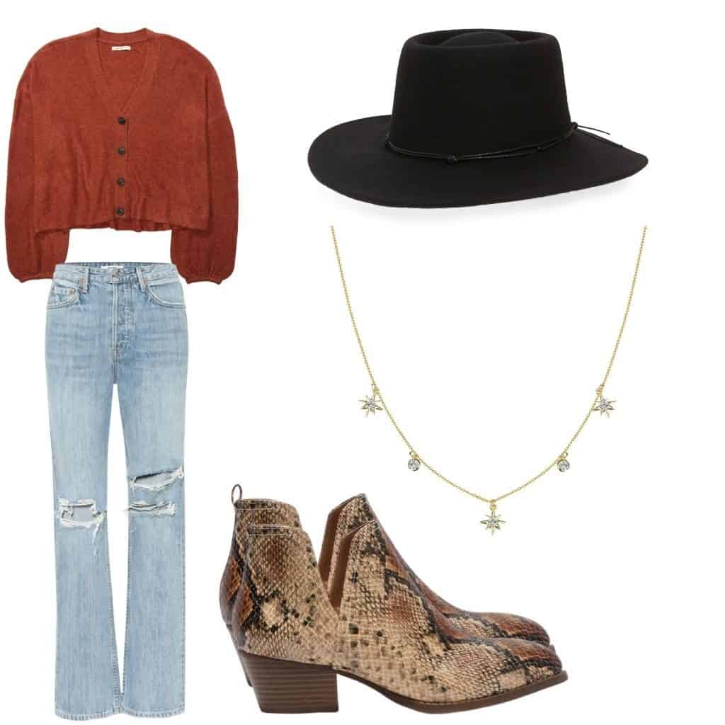 These casual Thanksgiving outfits will have you looking good and feeling comfortable. This outfit features A cropped orange cardigan with light wash, high rise, straight leg jeans. To accessorize there is a black felt wide brim hat, a gold start necklace, and some snakeskin boots.