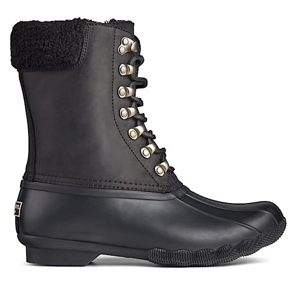 A black boot from Sperry. The tops is leather with some shearling and the bottom is rubber. A great cold weather gift.