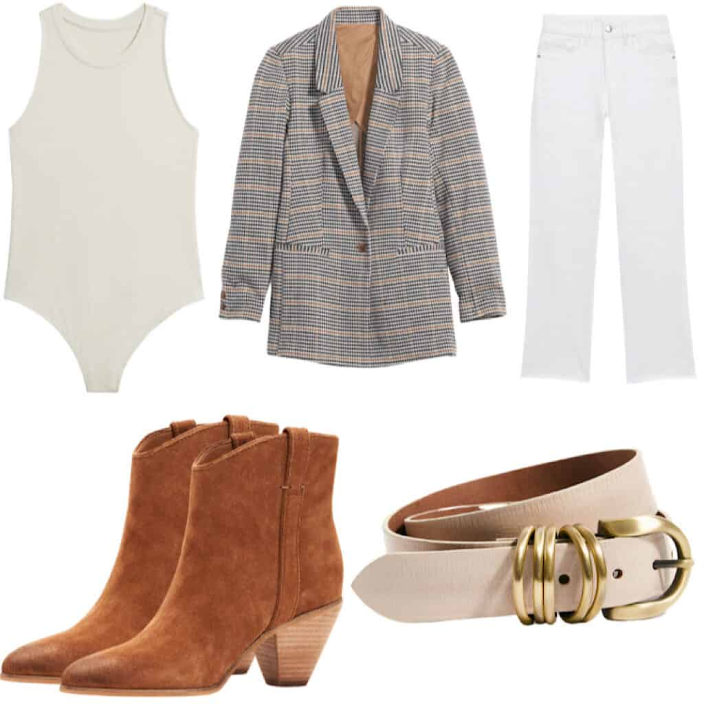 These casual Thanksgiving outfits will have you looking good and feeling comfortable. This outfit features A tonal outfit with a cream bodysuit and white high rise straight leg jeans with a plaid blazer, a cream belt with gold buckle, and some camel colored ankle boots.
