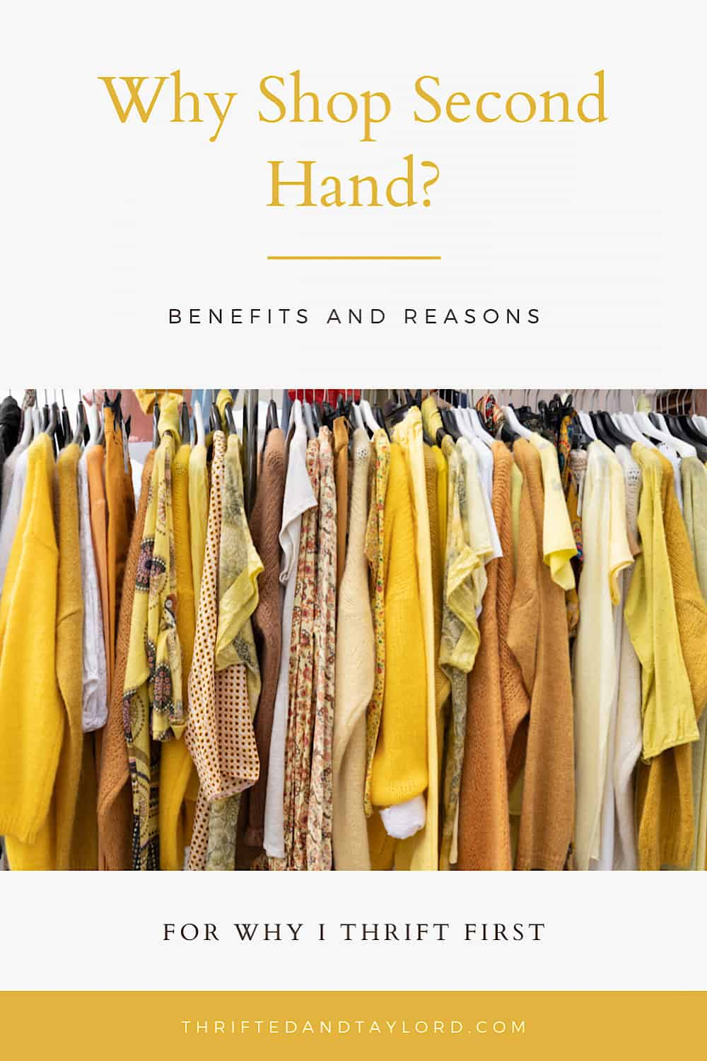 Photo is a clothing rack full of women's clothes in different styles and shades of yellow.