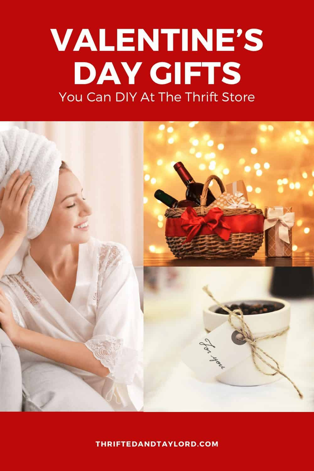 """3 images. 1st is a woman in a white silk robe with a white towel on her head who is smiling and looking off to the right. The second is a gift basket filled with wine bottles and gifts. There is a red ribbon around the basket and there are twinkle lights in the background. The third photo is a small white pot filled with coffee beans with a little paper tag on some twine wrapped around it that reads """"for you."""""""