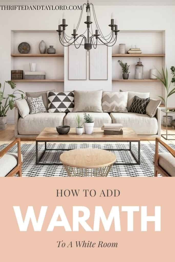A neutral colored living room with wood accents, a patterned rug, some potted plants, a black metal candelabra style chandelier, there are some wood shelves built into the walls with various vases and other odd and end home deco pieces.